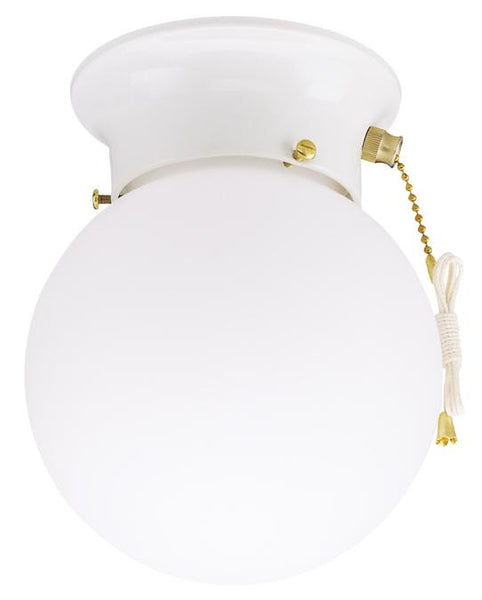 One-Light Indoor Flush-Mount Ceiling Fixture, with Pull Chain White Finish with White Glass Globe - Lighting Getz