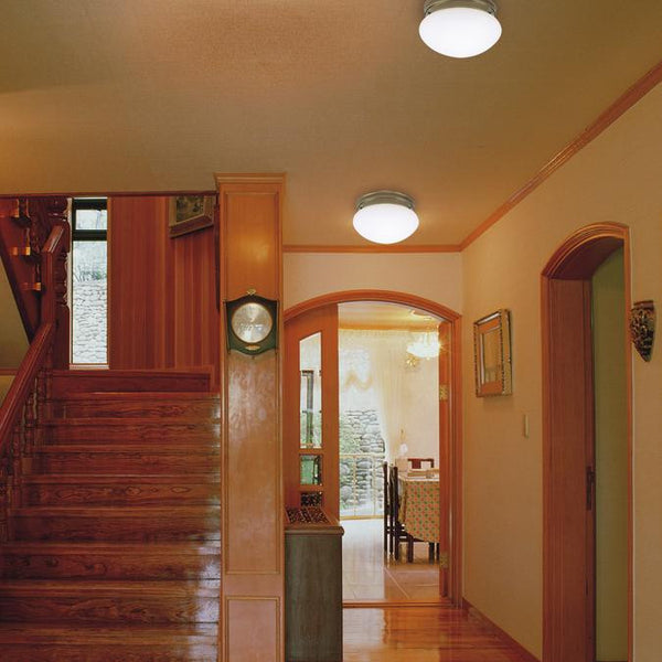 One-Light Indoor Flush-Mount Ceiling Fixture, Antique Brass Finish with White Glass - Lighting Getz