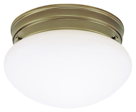One-Light Indoor Flush-Mount Ceiling Fixture, Antique Brass Finish with White Glass