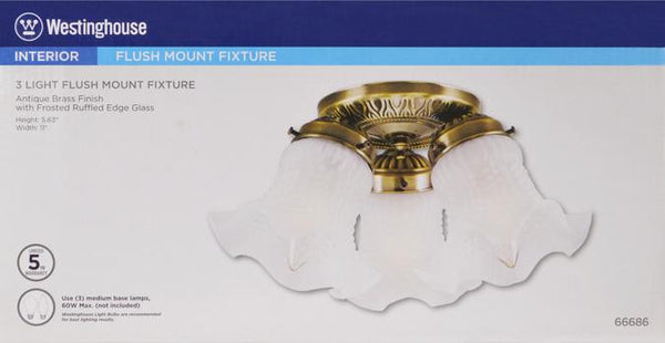 Three-Light Indoor Flush-Mount Ceiling Fixture, Antique Brass Finish with Frosted Ruffled Edge Glass - Lighting Getz