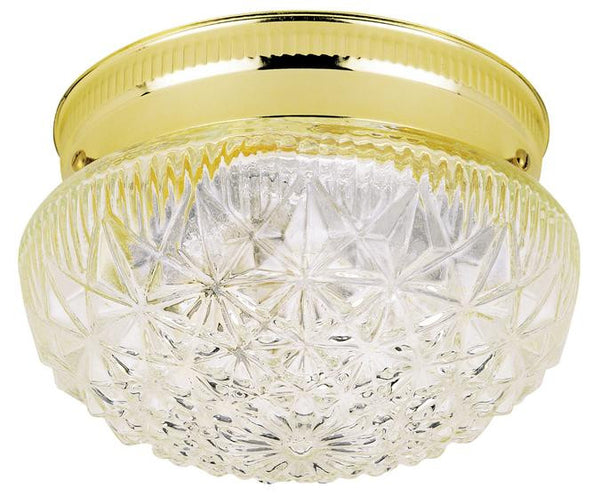 One-Light Indoor Flush-Mount Ceiling Fixture, Polished Brass Finish with Clear Faceted Glass - Lighting Getz