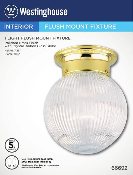 One-Light Indoor Flush-Mount Ceiling Fixture, Polished Brass Finish with Crystal Ribbed Glass Globe - Lighting Getz