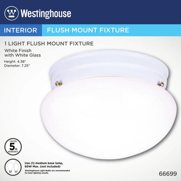 One-Light Indoor Flush-Mount Ceiling Fixture, White Finish with White Glass - Lighting Getz