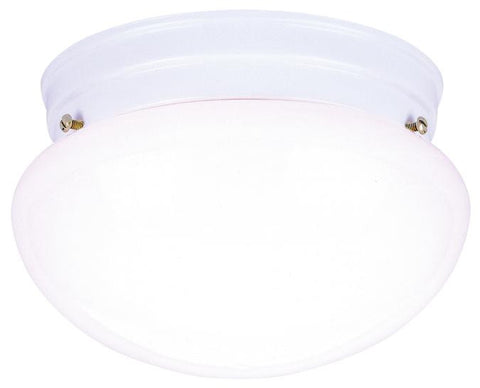 One-Light Indoor Flush-Mount Ceiling Fixture, White Finish with White Glass