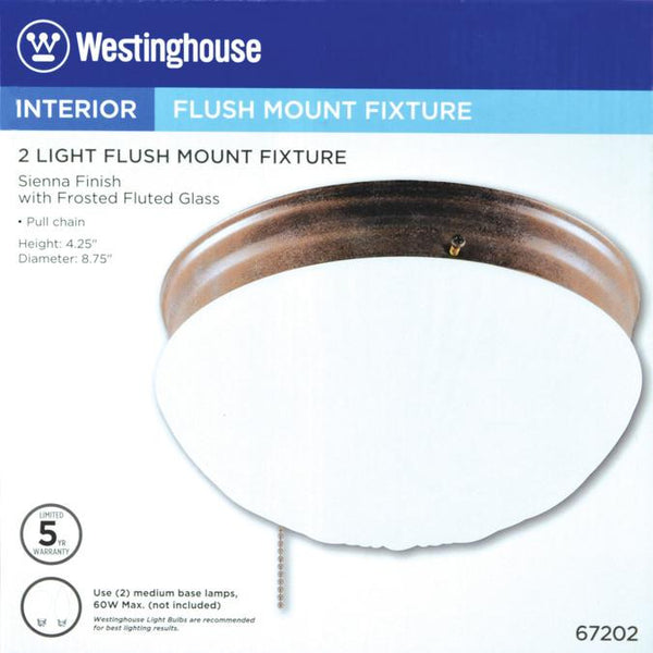Two-Light Indoor Flush-Mount Ceiling Fixture, with Pull Chain Sienna Finish with Frosted Fluted Glass - Lighting Getz