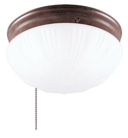 Two-Light Indoor Flush-Mount Ceiling Fixture, with Pull Chain Sienna Finish with Frosted Fluted Glass