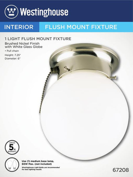 One-Light Indoor Flush-Mount Ceiling Fixture, with Pull Chain Brushed Nickel Finish with White Glass Globe - Lighting Getz