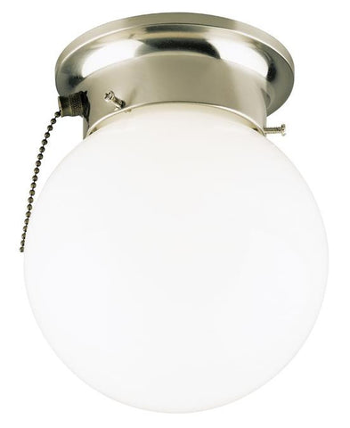 One-Light Indoor Flush-Mount Ceiling Fixture, with Pull Chain Brushed Nickel Finish with White Glass Globe