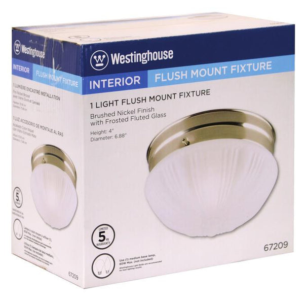 One-Light Indoor Flush-Mount Ceiling Fixture, Brushed Nickel Finish with Frosted Fluted Glass - Lighting Getz