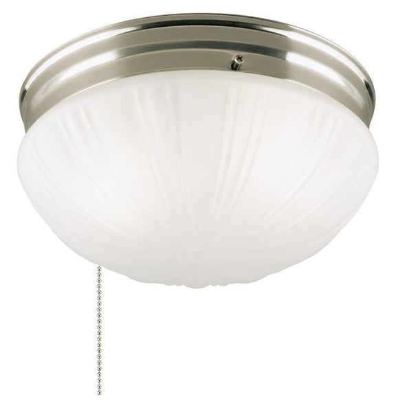 Two-Light Indoor Flush-Mount Ceiling Fixture, with Pull Chain Brushed Nickel Finish with Frosted Fluted Glass - Lighting Getz