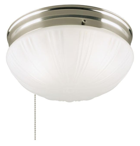 Two-Light Indoor Flush-Mount Ceiling Fixture, with Pull Chain Brushed Nickel Finish with Frosted Fluted Glass