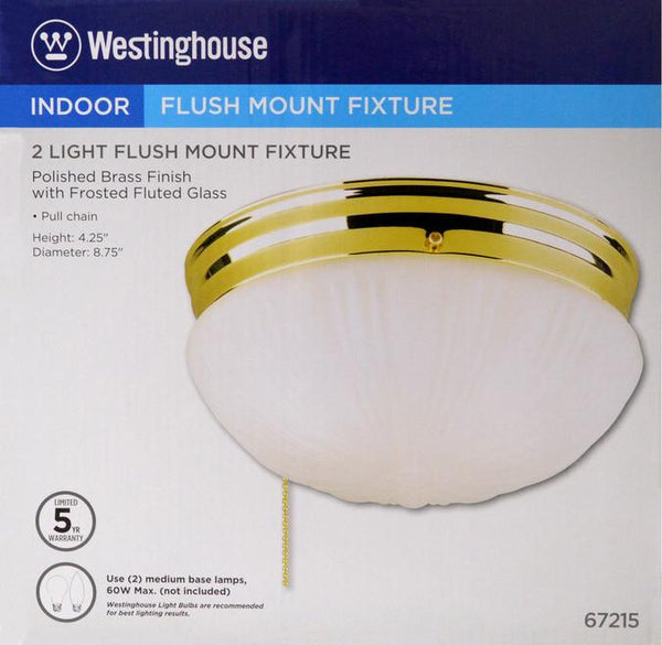 Two-Light Indoor Flush-Mount Ceiling Fixture, with Pull Chain Polished Brass Finish with Frosted Fluted Glass - Lighting Getz