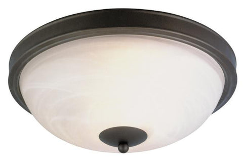 Two-Light Indoor Flush-Mount Ceiling Fixture, Organic Gold Finish with Frosted White Alabaster Glass