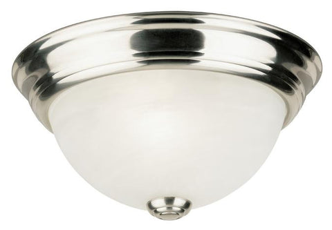 One-Light Indoor Flush-Mount Ceiling Fixture, Brushed Nickel Finish with Frosted White Alabaster Glass
