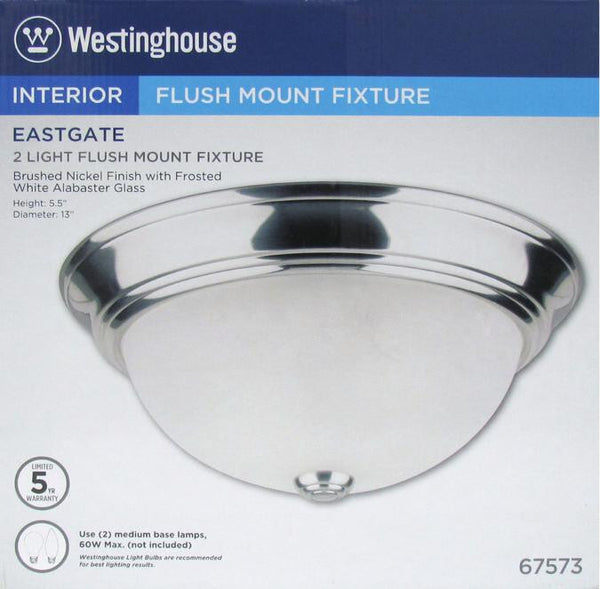 Two-Light Indoor Flush-Mount Ceiling Fixture, Brushed Nickel Finish with Frosted White Alabaster Glass - Lighting Getz