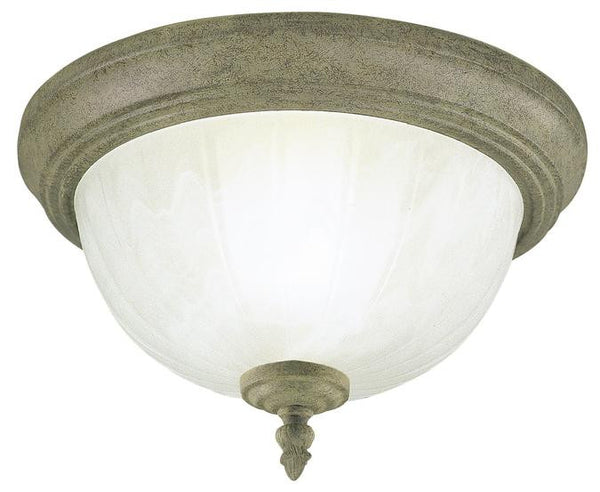 One-Light Indoor Flush-Mount Ceiling Fixture, Cobblestone Finish with Frosted White Alabaster Glass - Lighting Getz