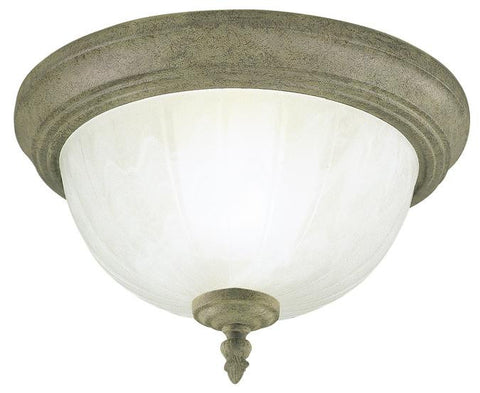 One-Light Indoor Flush-Mount Ceiling Fixture, Cobblestone Finish with Frosted White Alabaster Glass