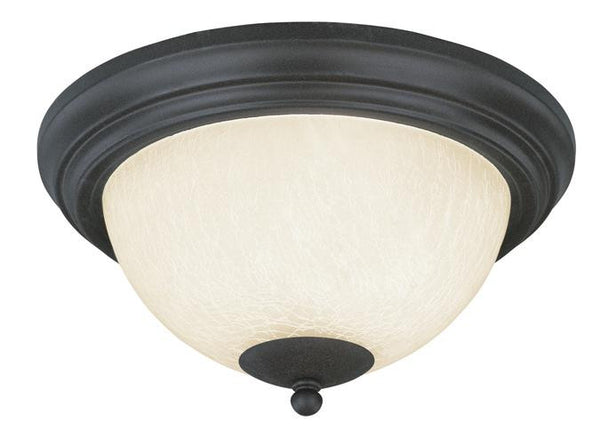 Two-Light Indoor Flush-Mount Ceiling Fixture, Antique Brick Finish with Frosted Crackle Glass - Lighting Getz