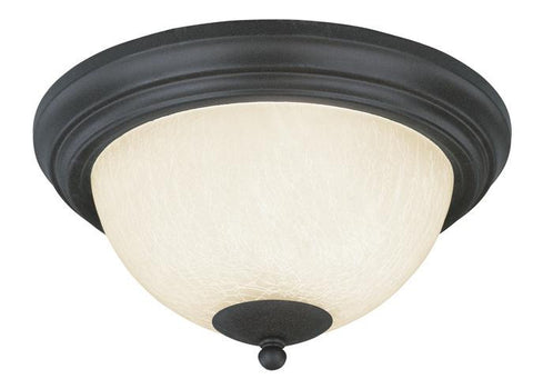 Two-Light Indoor Flush-Mount Ceiling Fixture, Antique Brick Finish with Frosted Crackle Glass