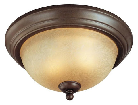 Two-Light Indoor Flush-Mount Ceiling Fixture, Saddle Bronze Finish with Antique Amber Scavo Glass
