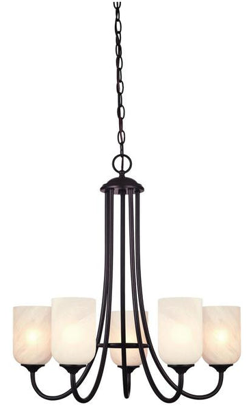 Treebridge Station Five-Light Indoor Chandelier, Espresso Finish with White Alabaster Glass - Lighting Getz