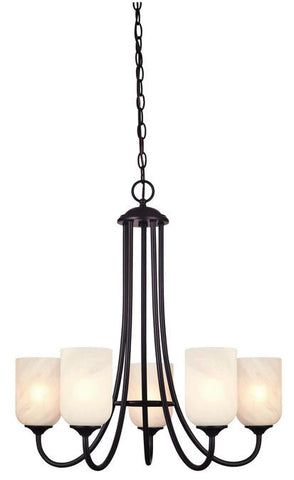Treebridge Station Five-Light Indoor Chandelier, Espresso Finish with White Alabaster Glass