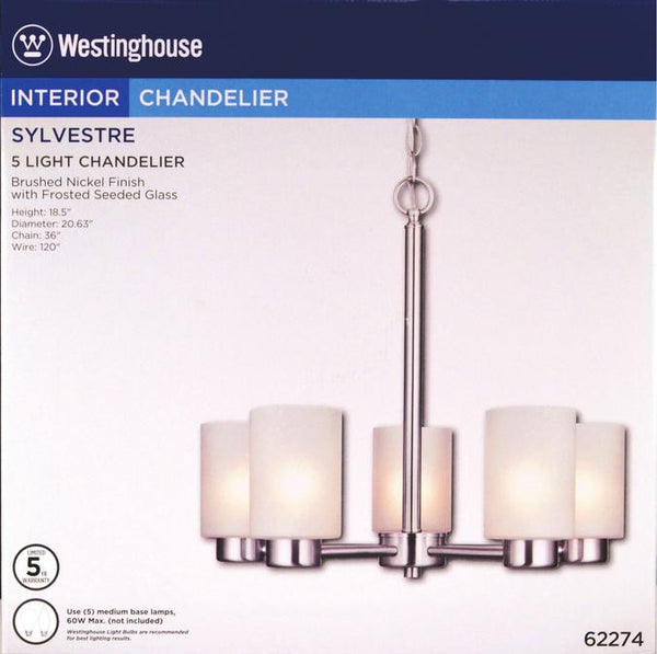 Sylvestre Five-Light Indoor Chandelier, Brushed Nickel Finish with Frosted Seeded Glass - Lighting Getz