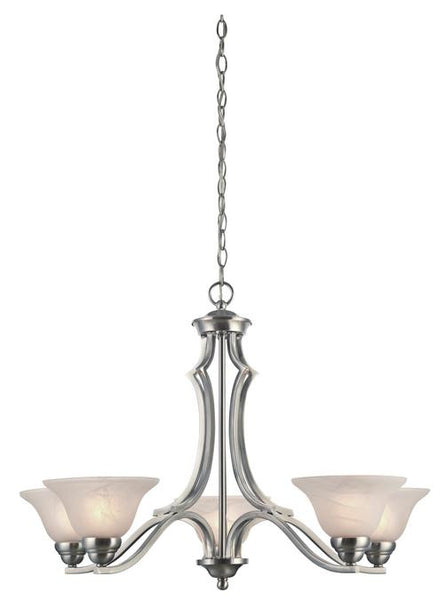 Fallon Five-Light Indoor Chandelier, Satin Platinum Finish with White Alabaster Glass - Lighting Getz