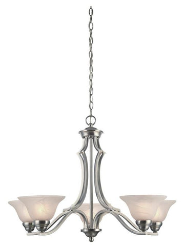 Fallon Five-Light Indoor Chandelier, Satin Platinum Finish with White Alabaster Glass