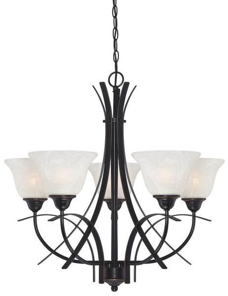 Pacific Falls Five-Light Indoor Chandelier, Amber Bronze Finish with White Alabaster Glass - Lighting Getz