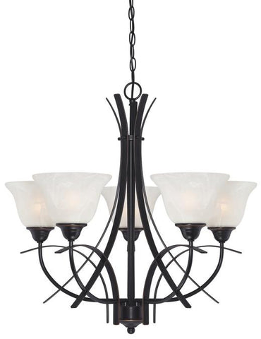Pacific Falls Five-Light Indoor Chandelier, Amber Bronze Finish with White Alabaster Glass