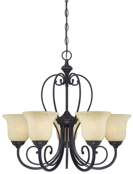 Callan Five-Light Indoor Chandelier, Oil Rubbed Bronze Finish with Caramel Scavo Glass - Lighting Getz