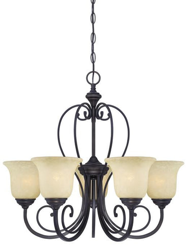 Callan Five-Light Indoor Chandelier, Oil Rubbed Bronze Finish with Caramel Scavo Glass