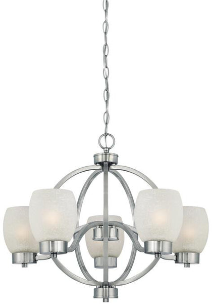 Karah Five-Light Indoor Chandelier, Brushed Nickel Finish with White Linen Glass - Lighting Getz