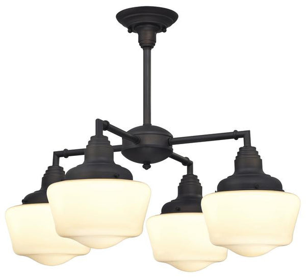Scholar Four-Light Indoor Convertible Chandelier, Semi-Flush Ceiling Fixture Oil Rubbed Bronze Finish with White Opal Glass - Lighting Getz