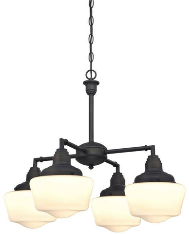 Scholar Four-Light Indoor Convertible Chandelier, Semi-Flush Ceiling Fixture Oil Rubbed Bronze Finish with White Opal Glass