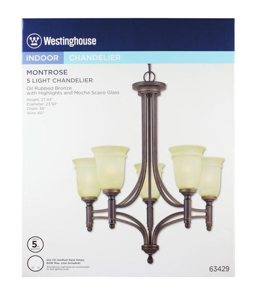 Montrose Five-Light Indoor Chandelier, Oil Rubbed Bronze Finish with Highlights and Mocha Scavo Glass - Lighting Getz