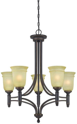 Montrose Five-Light Indoor Chandelier, Oil Rubbed Bronze Finish with Highlights and Mocha Scavo Glass