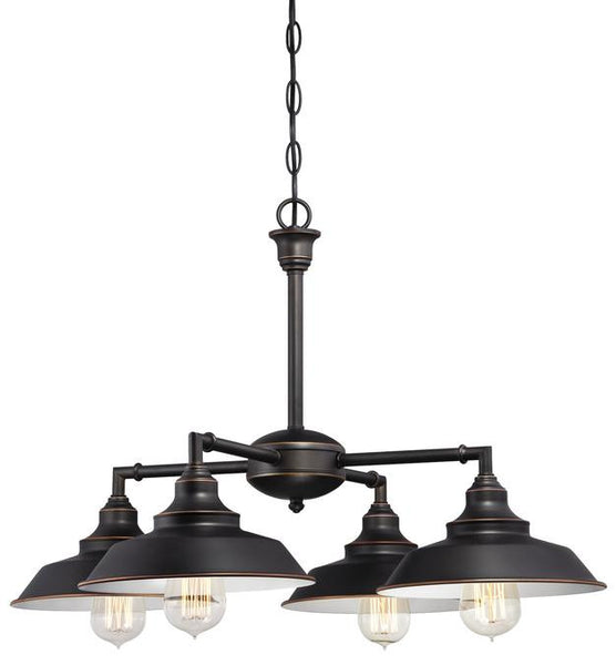 Iron Hill Four-Light Indoor Convertible Chandelier, Semi-Flush Ceiling Fixture Oil Rubbed Bronze Finish with Highlights and Metal Shades - Lighting Getz