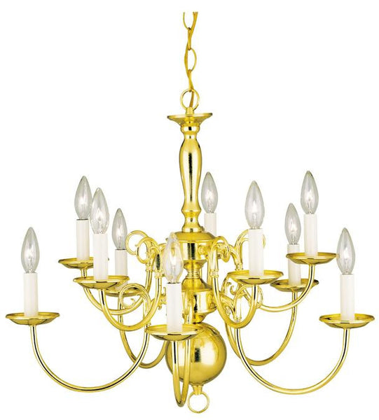 Ten-Light Indoor Williamsburg-Style Chandelier, Polished Brass Finish - Lighting Getz