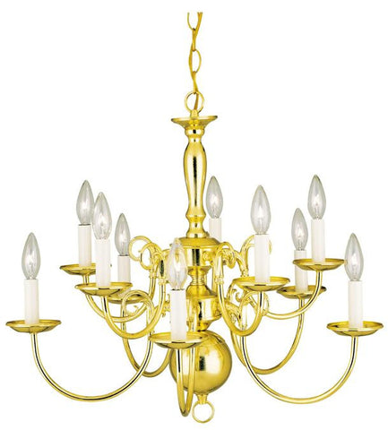 Ten-Light Indoor Williamsburg-Style Chandelier, Polished Brass Finish