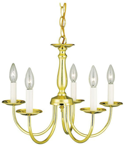 Five-Light Indoor Chandelier, Polished Brass Finish