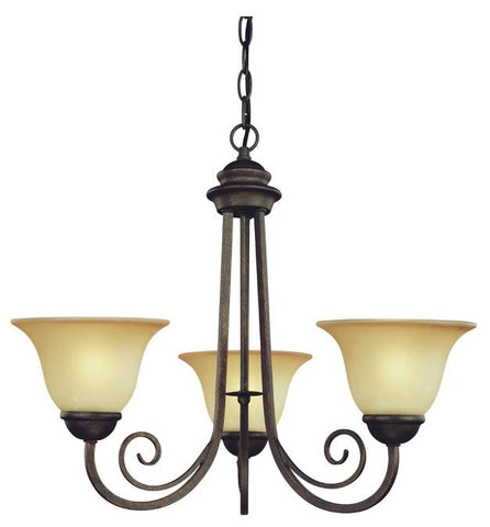 Three-Light Indoor Chandelier, Ebony Bronze Finish with Aged Alabaster Glass
