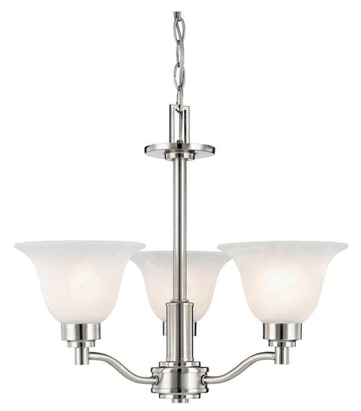Three-Light Indoor Chandelier, Brushed Nickel Finish with Frosted White Alabaster Glass - Lighting Getz