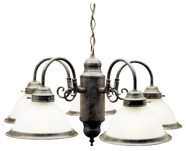 Five-Light Indoor Chandelier, Sienna Finish with Frosted Ribbed Glass - Lighting Getz