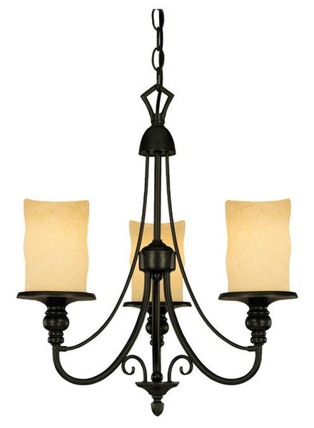 Three-Light Indoor Chandelier, Burnished Bronze Patina Finish with Burnt Scavo Glass - Lighting Getz