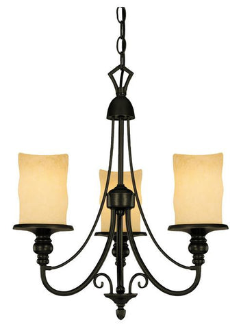 Three-Light Indoor Chandelier, Burnished Bronze Patina Finish with Burnt Scavo Glass