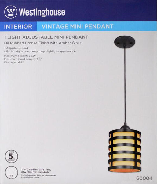 One-Light Adjustable Mini Pendant Oil Rubbed Bronze Finish with Oil Rubbed Bronze and Amber Glass Shade - Lighting Getz