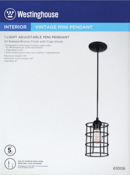 One-Light Adjustable Mini Pendant Oil Rubbed Bronze Finish with Metal Cage Shade - Lighting Getz