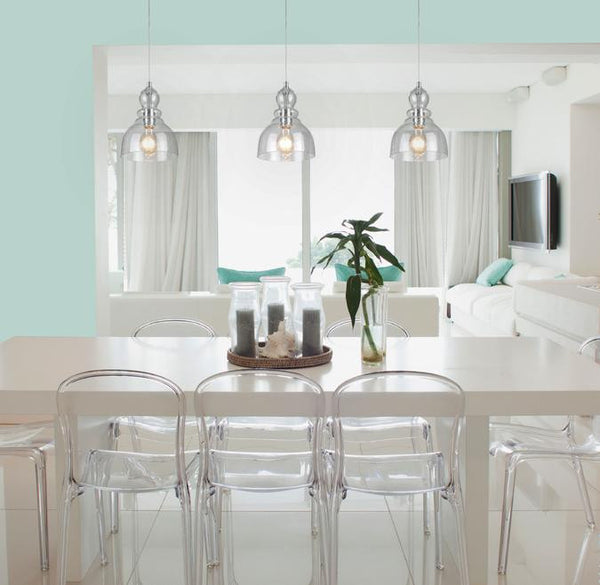 One-Light Adjustable Mini Pendant, Brushed Nickel Finish with Handblown Clear Seeded Glass - Lighting Getz